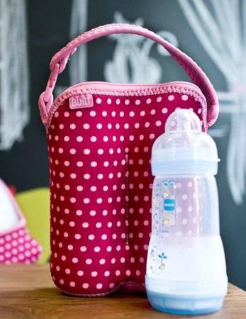 BUILT Bottle Buddy - Termoopakowanie do butelek podwójne (Baby Pink Mini Dots)