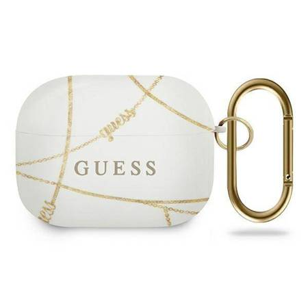 Guess GUACAPTPUCHWH AirPods Pro cover biały/white Gold Chain Collection