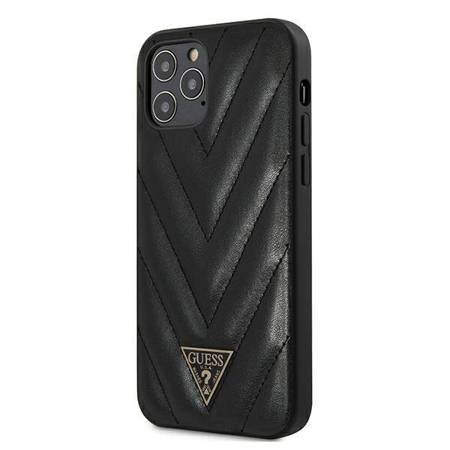 Guess V Quilted - Etui iPhone 12 Pro Max (czarny)