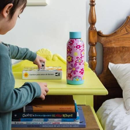 Quokka Solid Kids - Butelka termiczna ze stali nierdzewnej 510 ml (Flowers)