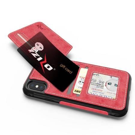 Zizo Nebula Wallet Case - Skórzane etui iPhone X z kieszeniami na karty + saszetka na zamek + szkło 9H na ekran (Pink/Black)