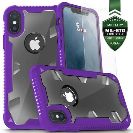 Zizo Proton Case - Pancerne etui iPhone X ze szkłem 9H na ekran (Purple/Trans Clear)